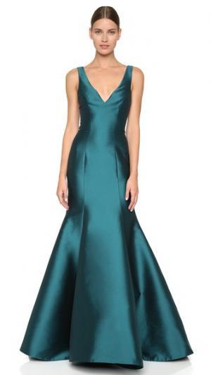Вечернее платье с V-образным вырезом и подолом «русалка» Monique Lhuillier. Цвет: бирюзовый