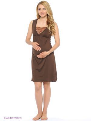 Ночная сорочка для беременных и кормления 40 недель. Цвет: коричневый, темно-бежевый