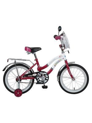 Велосипед 16 Z Зебра NOVATRACK. Цвет: бордовый
