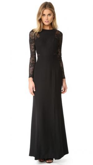 Кружевное вечернее платье с длинными рукавами Ali & Jay. Цвет: голубой