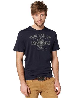 Футболка TOM TAILOR. Цвет: темно-синий