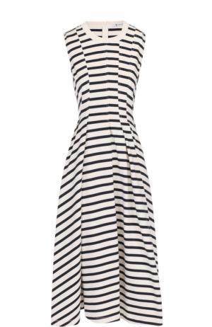 Приталенное платье без рукавов с защипами T by Alexander Wang. Цвет: черно-белый
