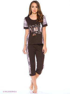 Комплект домашней одежды ( футболка, бриджи) HomeLike. Цвет: темно-коричневый