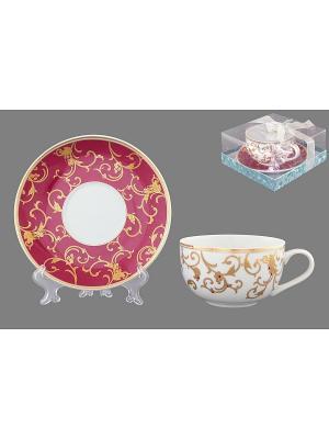 Чайная пара Королевкий узор на бордовом Elan Gallery. Цвет: белый, бордовый, золотистый