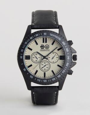Crosshatch Черные часы с дополнительными циферблатами. Цвет: черный
