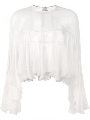 Прозрачная блузка со складками Philosophy Di Lorenzo Serafini. Цвет: телесный