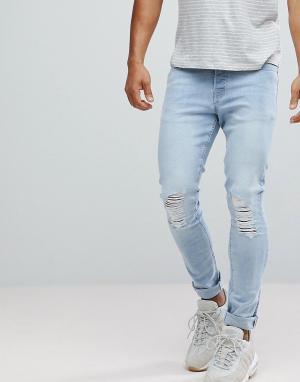 Hoxton Denim Голубые джинсы скинни. Цвет: синий