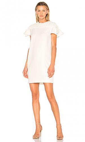 Мини платье с жатой кокеткой и свободными рукавами EDIT. Цвет: белый