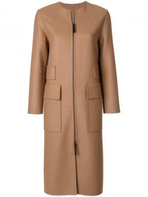 Пальто на молнии с большими карманами Numerootto. Цвет: телесный