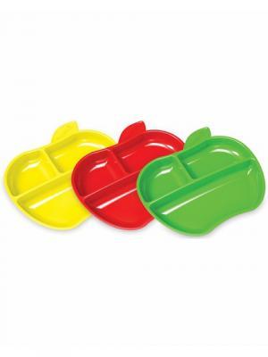 Набор тарелок Яблоко 3 шт. MUNCHKIN. Цвет: красный