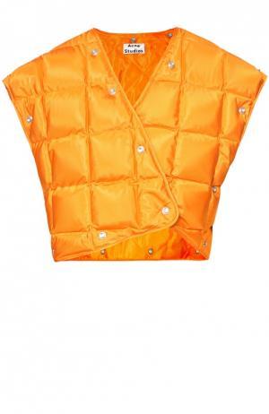 Стеганый жилет асимметричного кроя на заклепках Acne Studios. Цвет: оранжевый