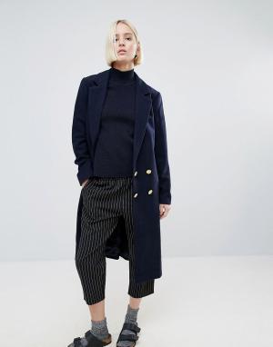 Ganni Пальто из ткани с добавлением шерсти Hawthorne. Цвет: темно-синий