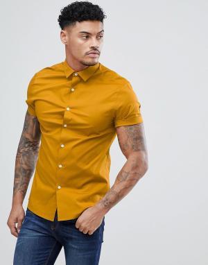 ASOS Облегающая рубашка горчичного цвета с короткими рукавами DESIGN. Цвет: желтый