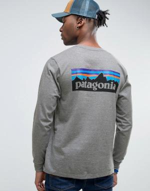 Patagonia Серый меланжевый лонгслив классического кроя с логотипом на спине Pata. Цвет: серый