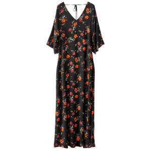Платье длинное с цветочным рисунком La Redoute Collections. Цвет: рисунок цветочный/фон черный