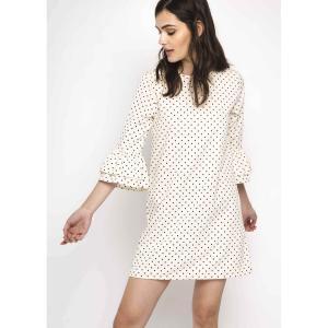 Платье короткое с рукавами 3/4 COMPANIA FANTASTICA. Цвет: экрю/черный горошек