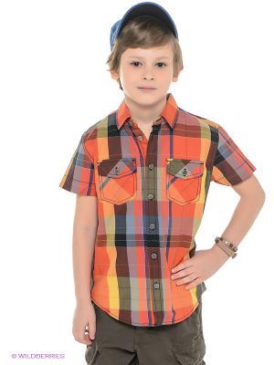 Рубашка SELA. Цвет: оранжевый, желтый, темно-синий