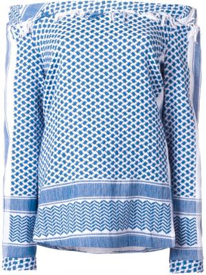 Топ с открытыми плечами Cecilie Copenhagen. Цвет: синий