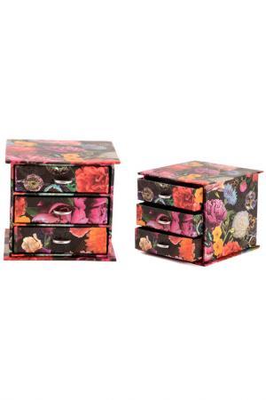 Шкатулка для украшений Русские подарки. Цвет: черный, оранжевый, розовый
