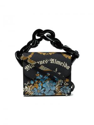 Сумка с жаккардовым цветочным принтом и цепочной деталью Marquesalmeida Marques'almeida. Цвет: чёрный