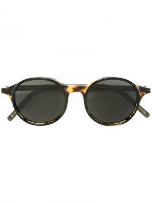 Солнцезащитные очки с круглой оправой Tomas Maier. Цвет: чёрный