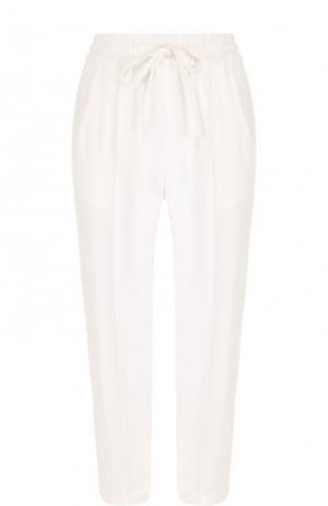 Укороченные однотонные брюки с эластичным поясом Kiton. Цвет: белый