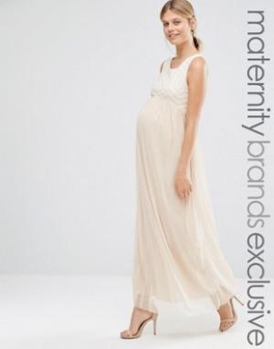 Queen Bee Платье макси для беременных без рукавов с отделкой. Цвет: бежевый