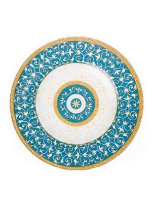 Орнамент Тарелка десертная стекло 200мм. Vetta. Цвет: бирюзовый