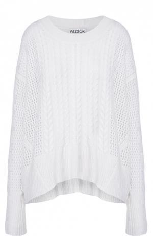 Кашемировый пуловер свободного кроя с круглым вырезом Wildfox. Цвет: белый
