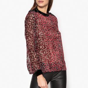 Блузка с круглым вырезом, рисунком и длинными рукавами THE KOOPLES. Цвет: красный/ черный