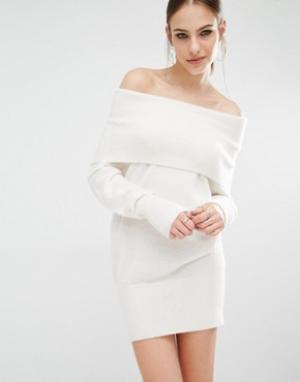 Kendall + Kylie Вязаное платье-туника Fuzzy. Цвет: белый