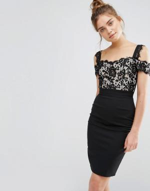 Paper Dolls Кружевное платье-футляр 2 в 1. Цвет: черный
