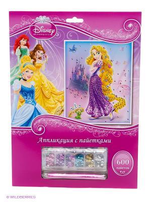 Набор для творчества  аппликация из пайеток Disney принцессы в конверте Multiart. Цвет: розовый