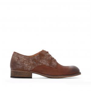 Ботинки-дерби кожаные двухцветные Punkylace KICKERS. Цвет: темно-бежевый/золотистый
