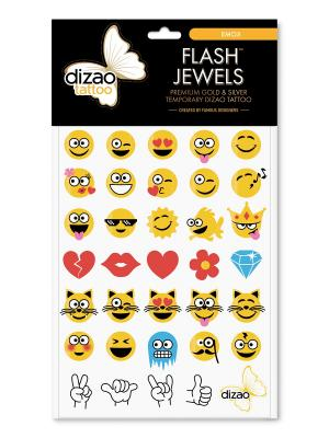 Премиальные золотые и серебряные временные Дизао тату Flash Jewels  СМАЙЛИКИ. Dizao. Цвет: черный
