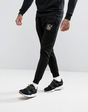 SikSilk Черные джоггеры с золотистым логотипом. Цвет: черный