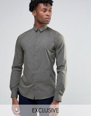 Noak Меланжевая облегающая рубашка. Цвет: зеленый