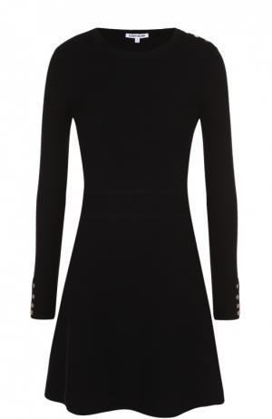Приталенное вязаное мини-платье с длинным рукавом Elizabeth and James. Цвет: черный