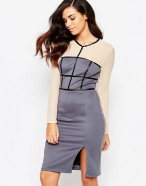 Amy Childs Платье-футляр с сетчатыми рукавами Paige. Цвет: фиолетовый