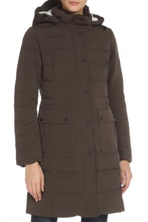 Полуприлегающее пальто со съемным капюшоном SNOWIMAGE. Цвет: 2549  темно-коричневый