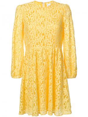 Платье из цветочного кружева Dondup. Цвет: жёлтый и оранжевый