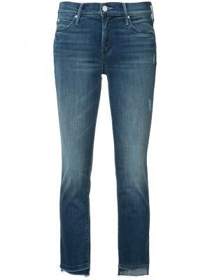 Укороченные джинсы кроя скинни Mother. Цвет: синий
