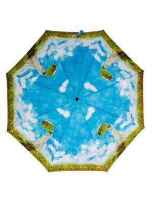 Зонт складной Mone Guy De Jean. Цвет: зеленый, белый, голубой