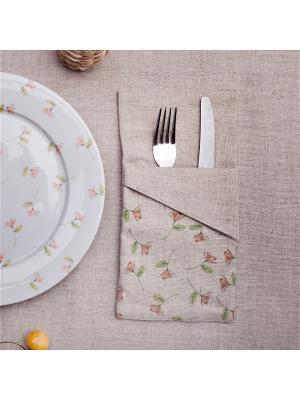 Конверт для столовых приборов Прованс Узор нежные розы со скошенным углом (1 отделение) Счастье в мелочах. Цвет: светло-серый