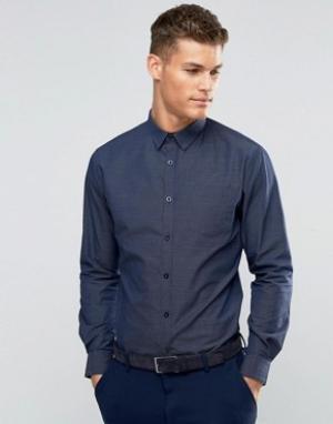 Silver Eight Темно-синяя рубашка в строгом стиле из ткани добби Sliver. Цвет: темно-синий
