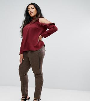 Elvi Коричневые брюки из твида. Цвет: коричневый