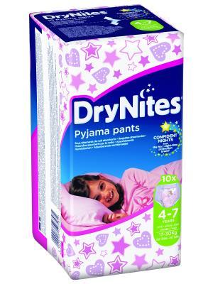 Huggies Трусики DryNights для девочек 4-7лет 10шт. Цвет: белый, розовый