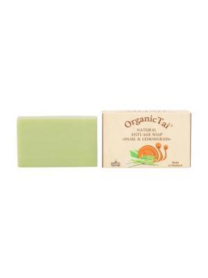 Натуральное антивозрастное мыло ЭКСТРАКТ УЛИТКИ и ЛЕМОНГРАСС, 100 г Organic Tai. Цвет: светло-зеленый