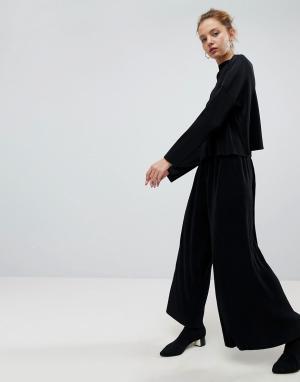 Weekday Плиссированные брюки с широкими штанинами. Цвет: черный