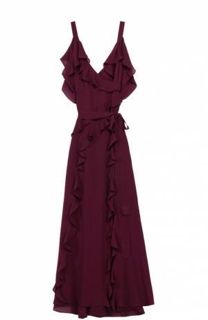 Шелковое платье-макси с оборками и открытыми плечами Elie Saab. Цвет: бордовый